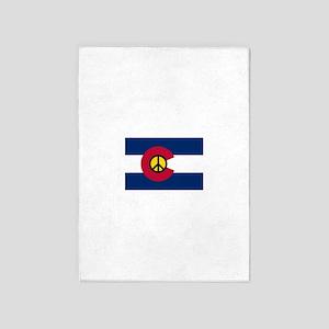 Colorado Flag Peace Sign 5'x7'Area Rug