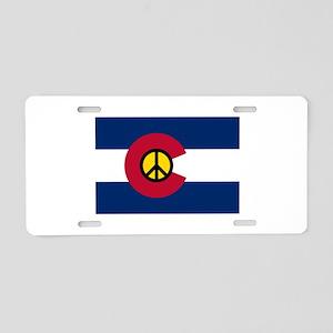 Colorado Flag Peace Sign Aluminum License Plate