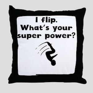 I Flip Super Power Throw Pillow