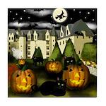 HALLOWEEN CASTLE BLACK CATS Tile Coaster