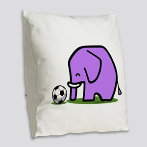 Soccer Elephant(1) Burlap Throw Pillow