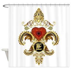 Monogram E Fleur-De-Lis Bf Shower Curtain