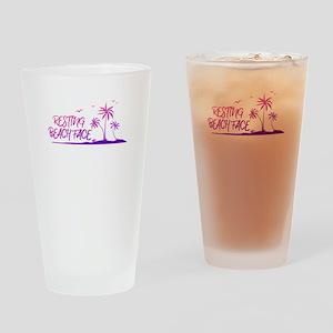 Resting Beach Face Design Drinking Glass