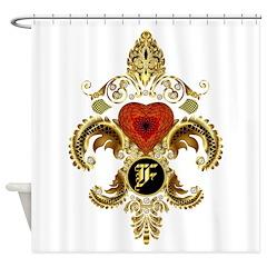 Monogram F Fleur-De-Lis Bf Shower Curtain