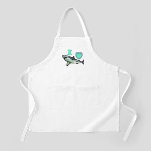 I Love ( Heart ) Sharks  BBQ Apron