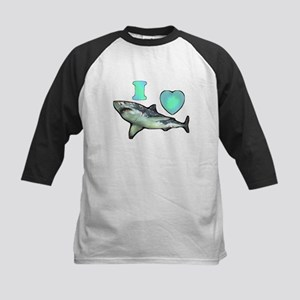 I Love ( Heart ) Sharks  Kids Baseball Jersey