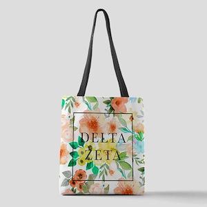 Delta Zeta Floral Polyester Tote Bag