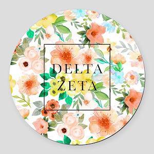 Delta Zeta Floral Round Car Magnet