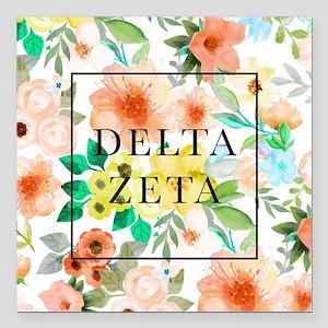 "Delta Zeta Floral Square Car Magnet 3"" x 3"""