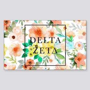 Delta Zeta Floral Sticker (Rectangle)
