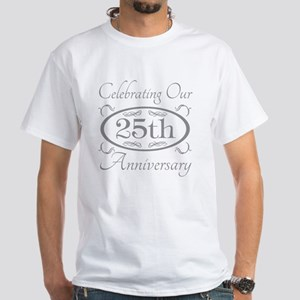 25th Wedding Anniversary White T-Shirt