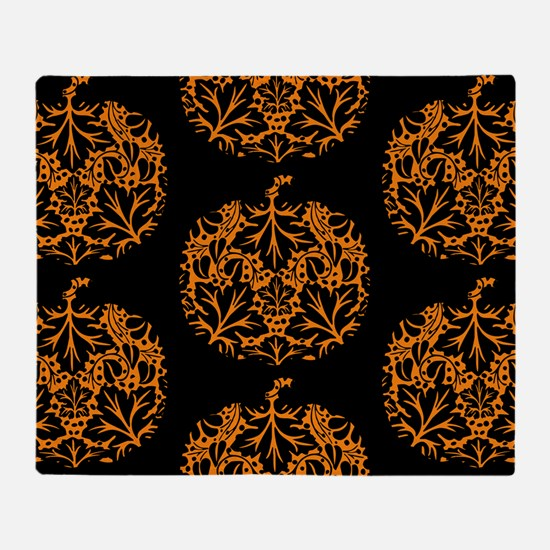 Pumpkin Damask Pattern Throw Blanket
