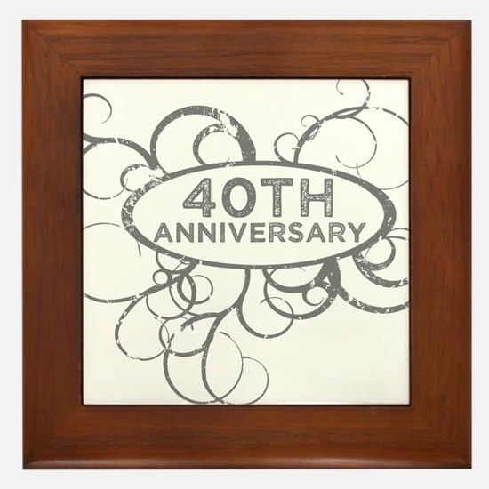 Funny 40th anniversary Framed Tile