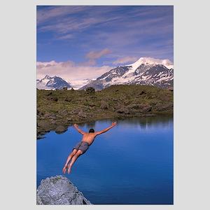 Man Dives Into Lake Fredricka Glacier, wrangell St