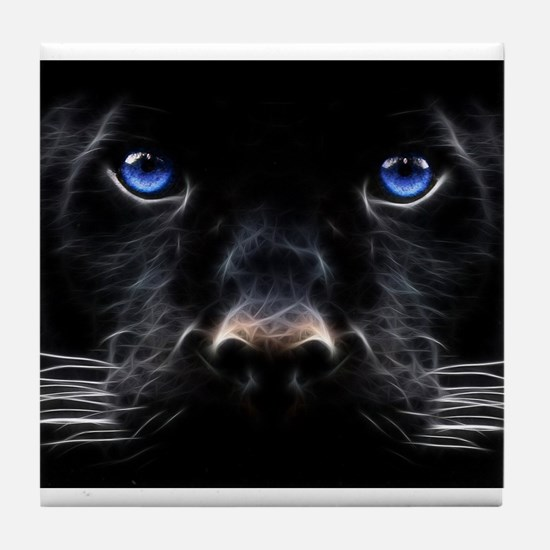 Cool Black cat in blue willow bowl Tile Coaster