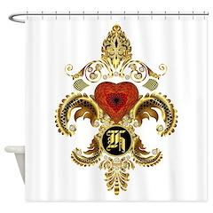 Monogram H Fleur-De-Lis Bf Shower Curtain