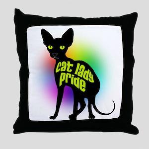 Cat Lady Pride Throw Pillow