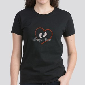 Babys Name, Footprings and Heart Design T-Shirt