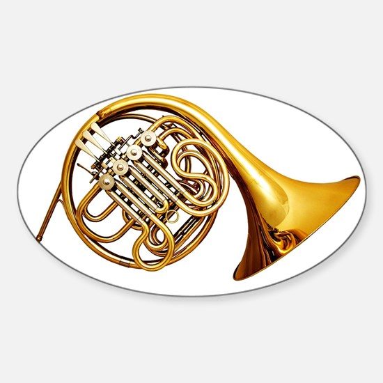 Shiny Brass French Horn Decal