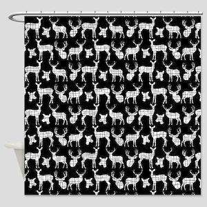 Deer On Black Shower Curtain