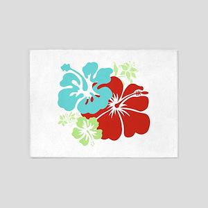 Hawaiian Hibiscus 5'x7'Area Rug