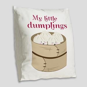 My Little Dumplings Burlap Throw Pillow