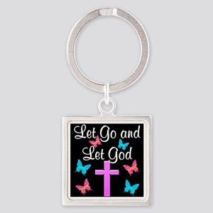 TRUST GOD Square Keychain