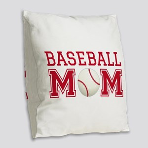 Baseball mom Burlap Throw Pillow
