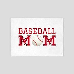 Baseball mom 5'x7'Area Rug