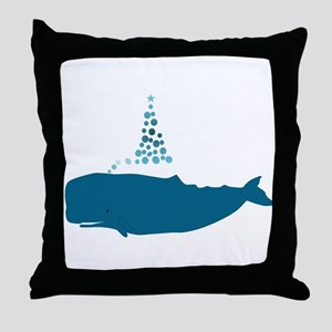 Whale Christmas Throw Pillow