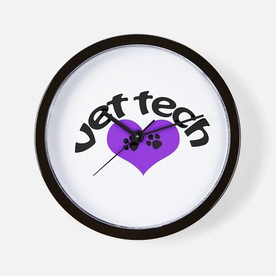 purple paw heart design Wall Clock