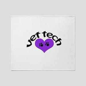 purple paw heart design Throw Blanket