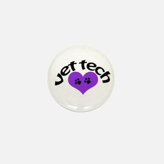 purple paw heart design Mini Button