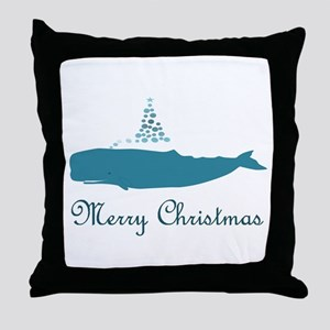 Whale Merry Christmas Throw Pillow