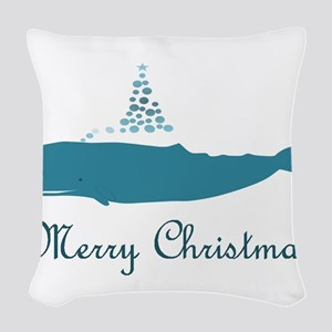 Whale Merry Christmas Woven Throw Pillow