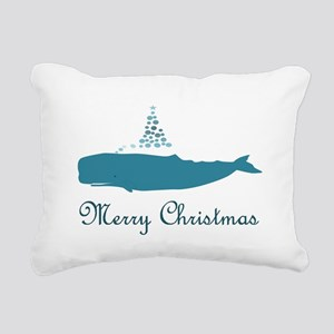 Whale Merry Christmas Rectangular Canvas Pillow