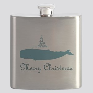 Whale Merry Christmas Flask
