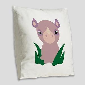 Little Rhino Burlap Throw Pillow