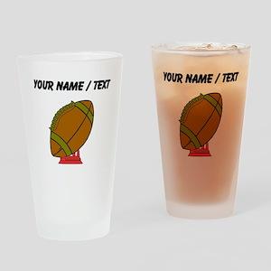 Custom Football On A Tee Drinking Glass