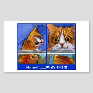 """""""What's This!""""CAT & KITTEN Rectangle Sticker"""