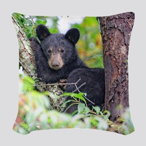 Bear Cub relaxing in Tree Woven Throw Pillow