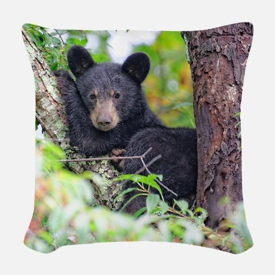 Bear Cub relaxing in Tree Woven Throw Pillow