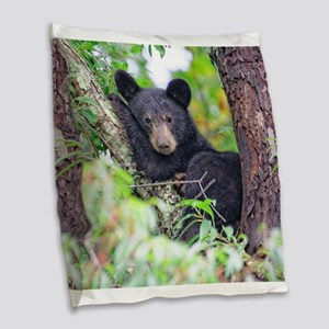 Bear Cub relaxing in Tree Burlap Throw Pillow