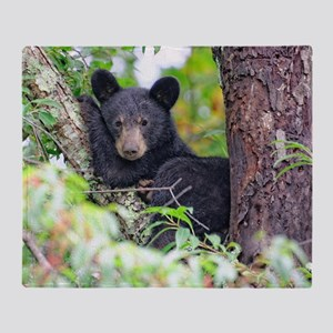 Bear Cub relaxing in Tree Throw Blanket
