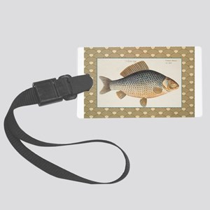 Vintage Carp Freshwater Fish Drawing Luggage Tag
