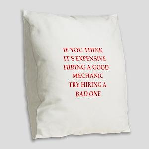 mechanic Burlap Throw Pillow