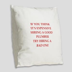 plumber Burlap Throw Pillow
