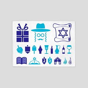 JEWISH SYMBOLS & HANUKKAH 5'x7'Area Rug
