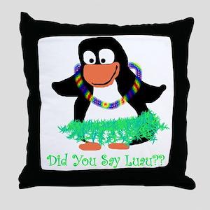 penguin luau Throw Pillow