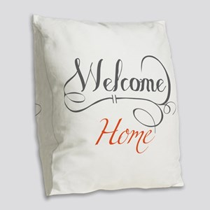 Welcome Home Burlap Throw Pillow
